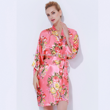 Get Ready For Ship Floral Satin Bridal Party Dressing Gown - Buy ...