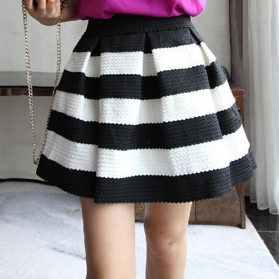 14a0d686c8 Black And White High Waisted Skirt - Redskirtz