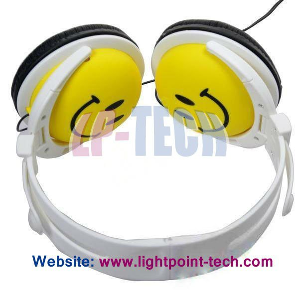Professional design smile face cartoon headphone high quality cute headphone for girls