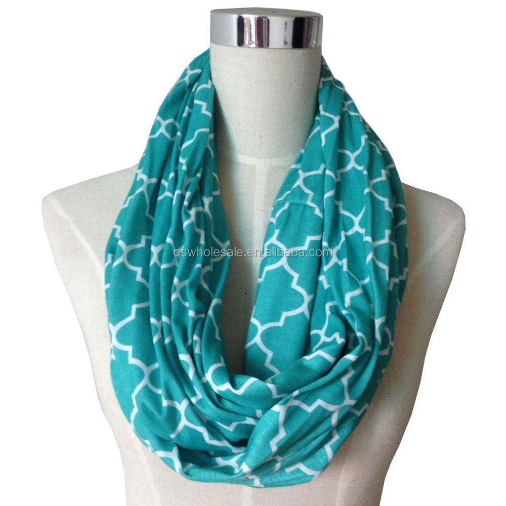 Women's infinity <strong>scarf</strong> quatrefoil zipper pocket <strong>scarf</strong>