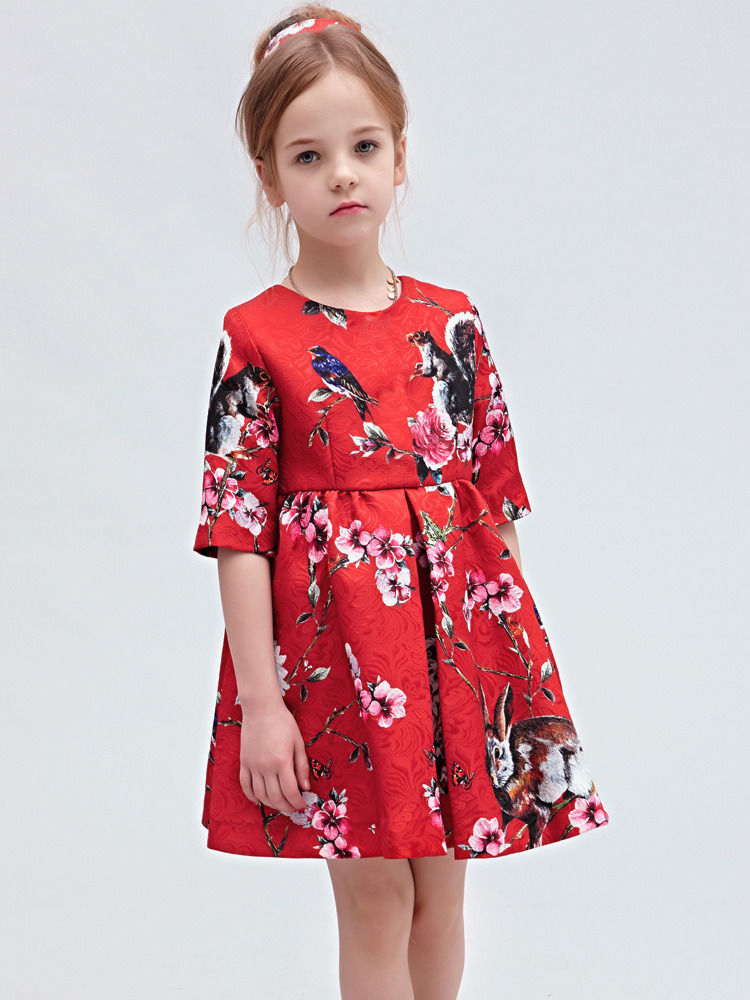 Hot Red Girls Kids Princess Flower Rabbit Owls Aline Gown font b Fancy b font font