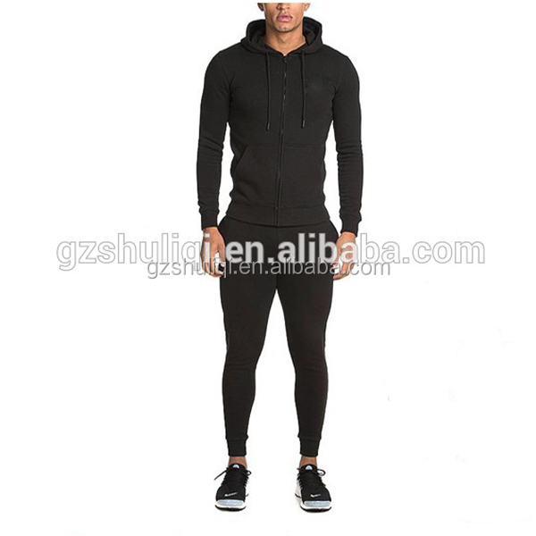 Tapered mens tracksuit gym sportswear fitted blank traning tracksuits wholesale