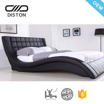 European Style Wave Shape Bedside High Headboard Modern King Platform Beds Bed