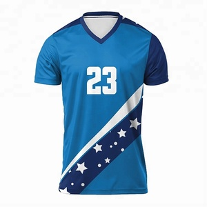 China made latest volleyball jersey designs color blue sublimated volleyball uniform with custom logo