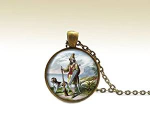 Robinson Crusoe Pendant, Robinson Crusoe Necklace, Robinson Crusoe, Literary Jewelry, Vintage illustration, Book Necklace with Chain, Defoe