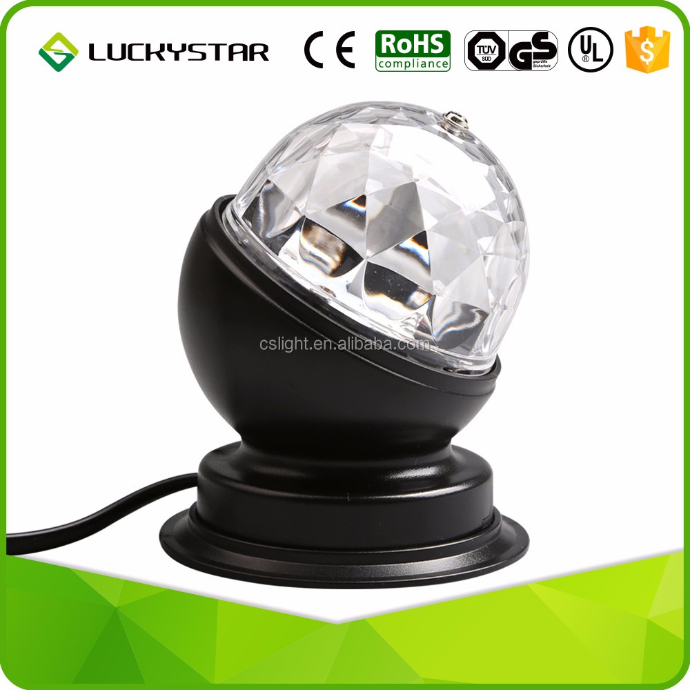 3w Black Led Magic Ball Strong Beams Activated Stage Party Led ...
