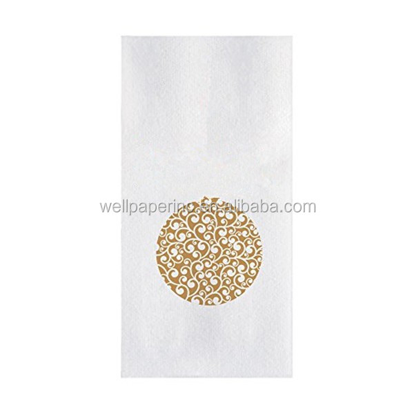 Dinner napkin Gold and White Luxury ornament hand guest towel disposable 12x17 inches Linen feel like cloth paper napkin (60ct)