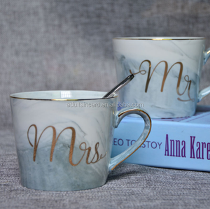 14oz Gold Ceramic Cup Gold Letter MRS. MR. Marble Couple Creative Coffee ceramic sublimation mugs