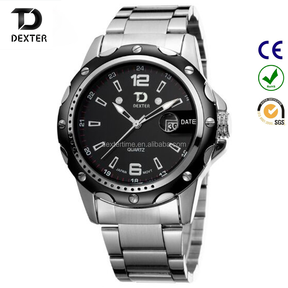 quartz stainless steel watch water resistant for men
