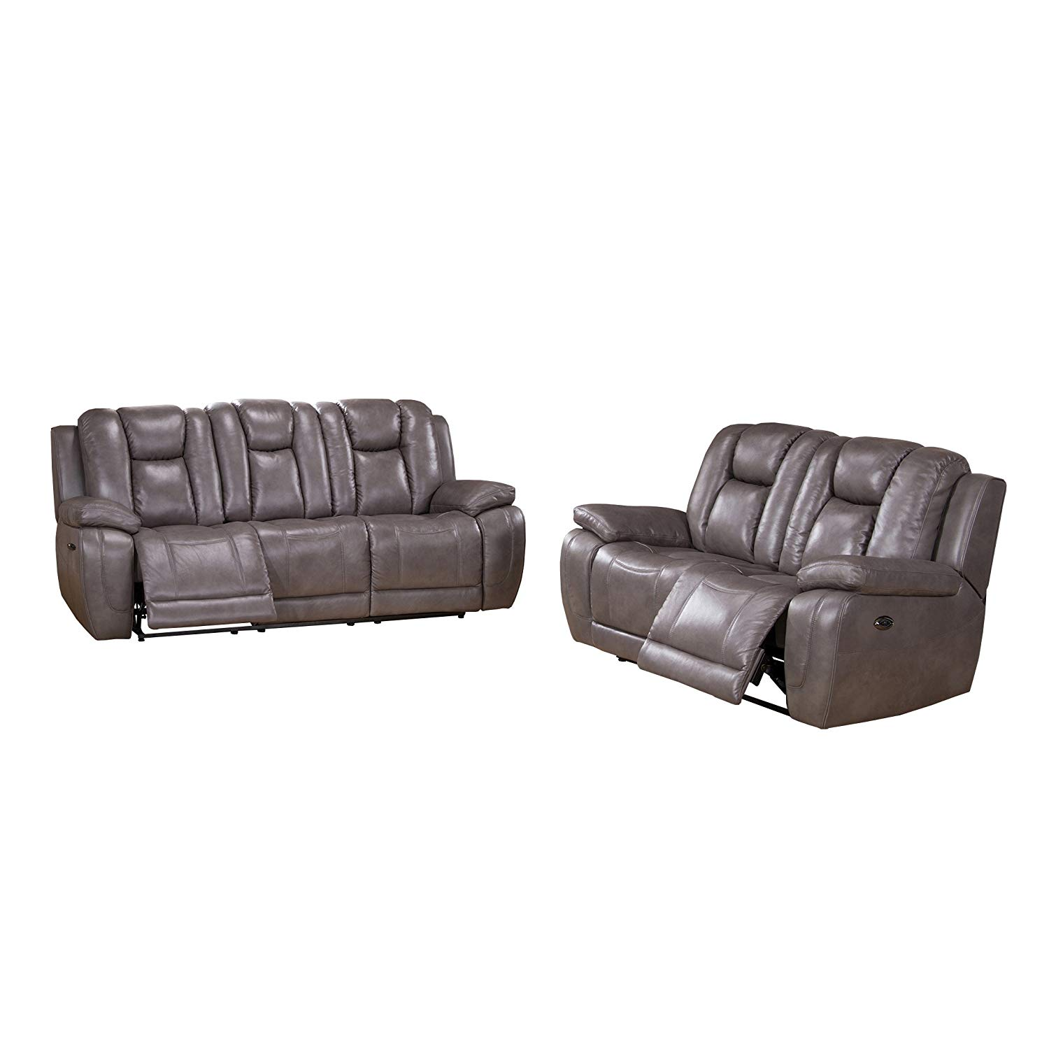 Get Quotations · Coja By Sofa4life Kenway Leather Power Sofa And Loveseat  Recliner Set, Gray