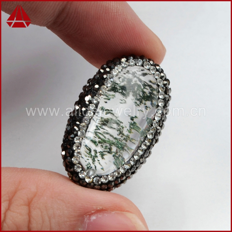 Assorted color CZ paved egg shape natural rutilated phantom quartz bead