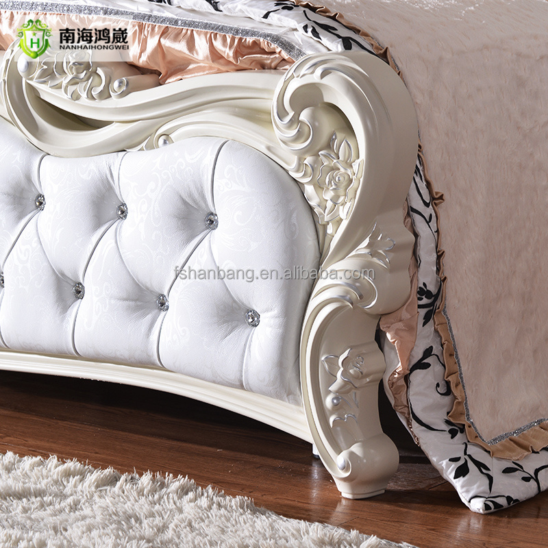 Lujo tallada rosa blanco romántico diseño de la tapicería de cuero ...