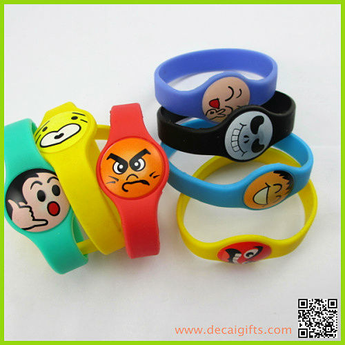 Wide Bands Silicone Bracelet Printed smile face customized wristband silicone bracelets