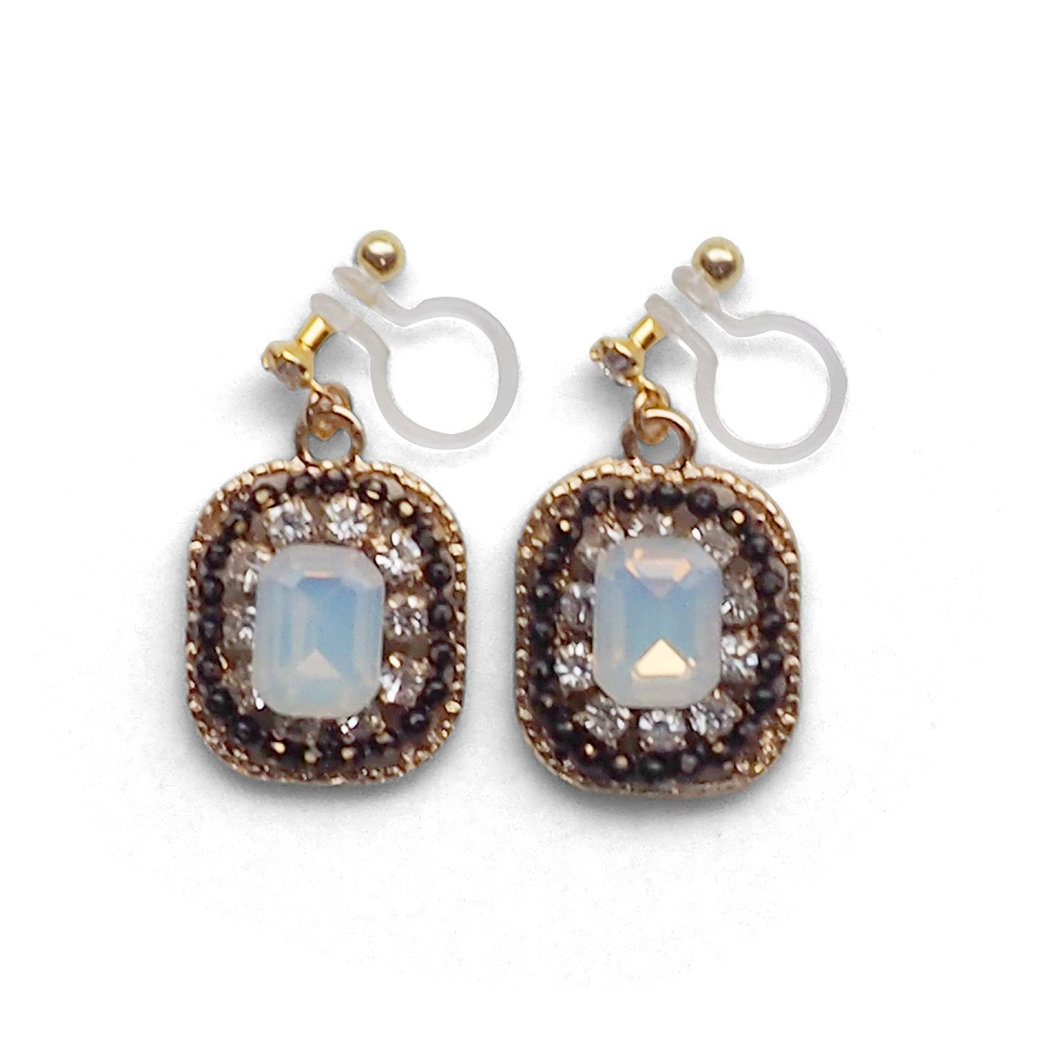 Square White Rhinestone Invisible Clip On Earrings, Fashion Dangle Black Crystal Drop Clip-on Earrings