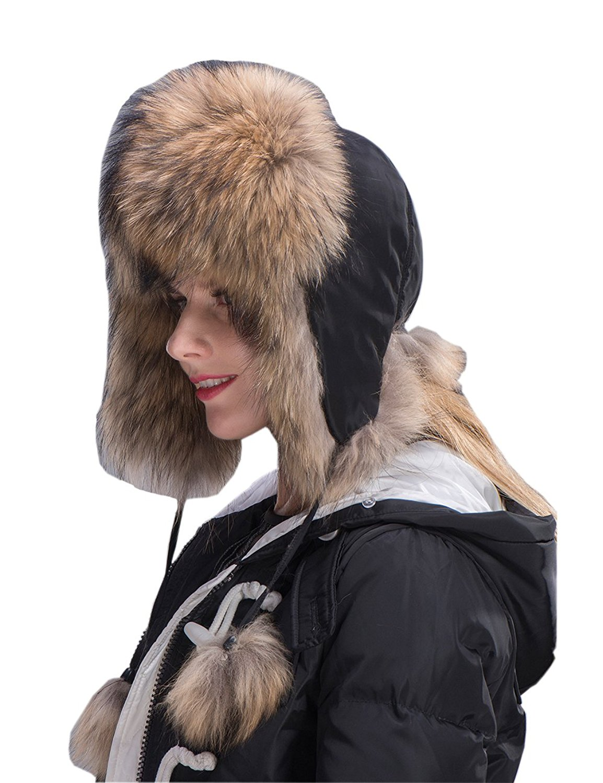 097b9a82fae39 MinShu Women Fox Fur Hat Winter Trapper Hat Fox Fur Hat Russian Fur Hat
