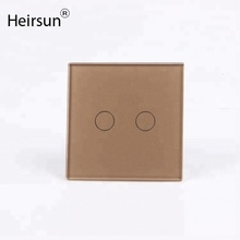 Heisun manufacturer eu standard 2gang 1way wall touch switch with led light