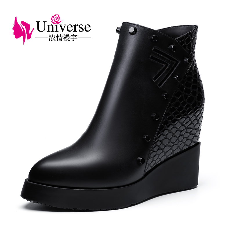 C201 Women Pointed Toe Shoes Wedge Heel Ankle Boots ladies shoes