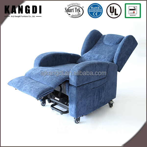 New style swivel blue electric powered lift recliner chair with wheels