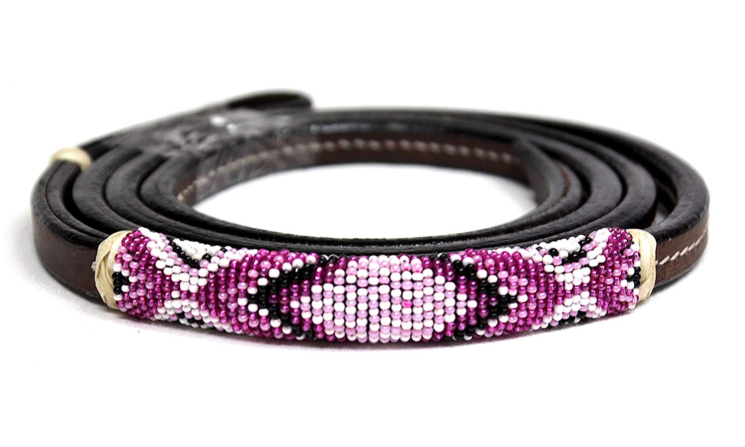 M-Royal Barrel Racing Leather Over Under Horse Whip Navajo Beaded