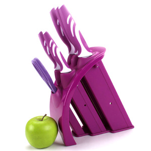 multi color knife sets a scissor and a purple holder