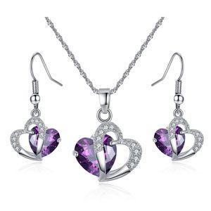 Fashion Love Heart Purple Gemstone Zircon Necklace Earrings Jewelry Set For Women