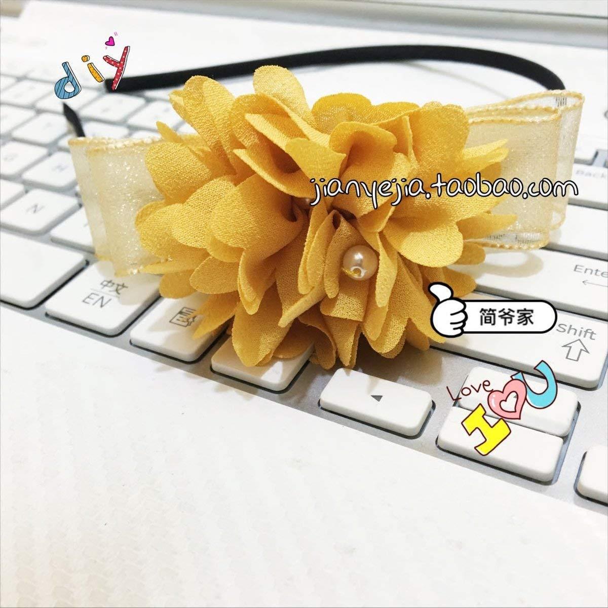 usongs Jane Ye custom diy home handmade custom pearl hair lace chiffon flower solid color khaki ball bow hair hoop