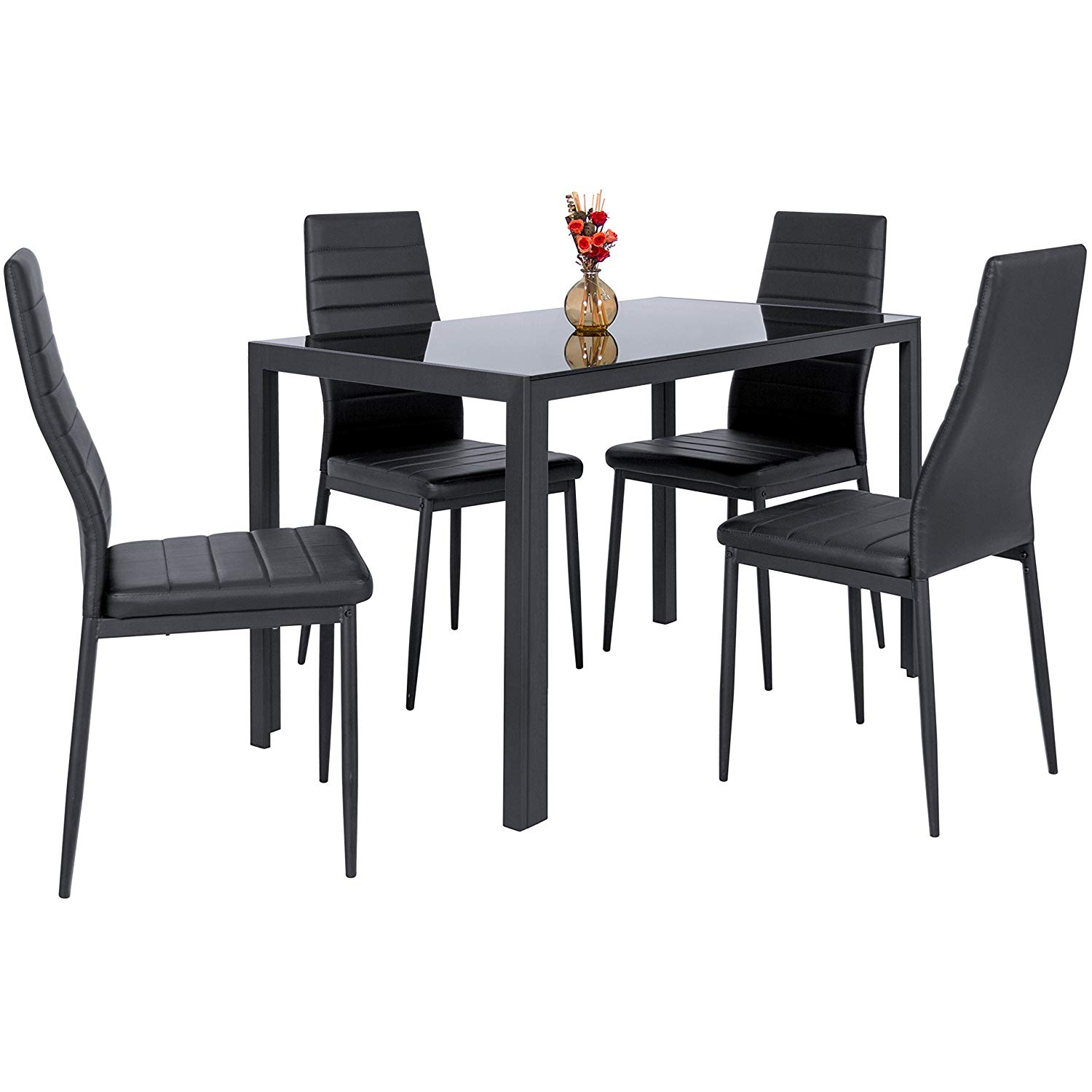 Free Sample Dining Room Furniture Strong Metal Modern New Design High Gloss Table Set With 4 Chairs Moderm