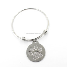 Fashional New Design Silver Dull Polish Dog Paw Round Plate Charms Chain Bracelet
