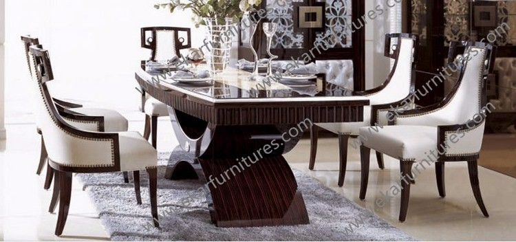 Contemporary Dining Table Set Wood Leg Classic Foshan City