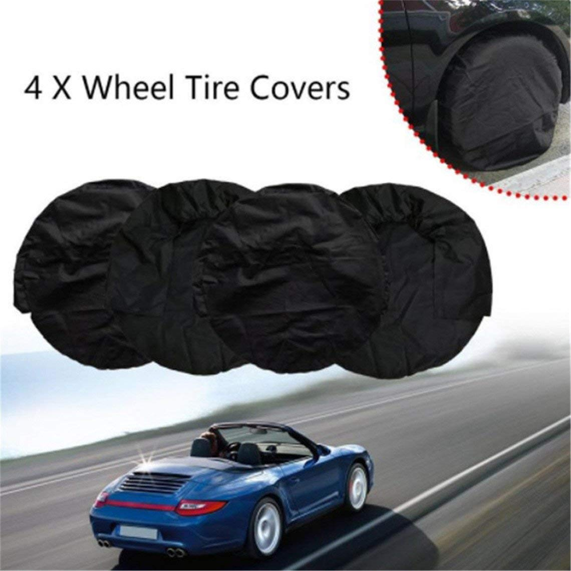 Rurah Classic Tire Tote Cover Foldable Seasonal Spare Tire Tyre Covers Protection Covers Storage Bags Wheel Cover for Car Off Road Truck,Black