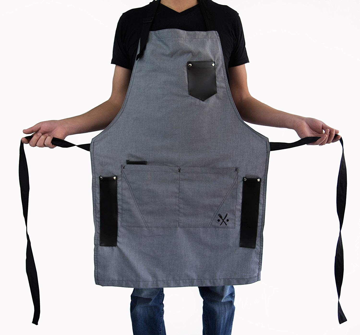 APRON for men chef, useful multifunctional pockets, ideal for bbq, grill, kitchen or restaurants, the coolest inexpensive gift for grilling dads, GREY