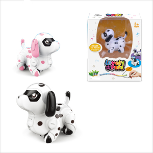 Cute Mini Pet Dog Follows Drawing Line Plastic Inductive Robot Dog Intelligent for Kids