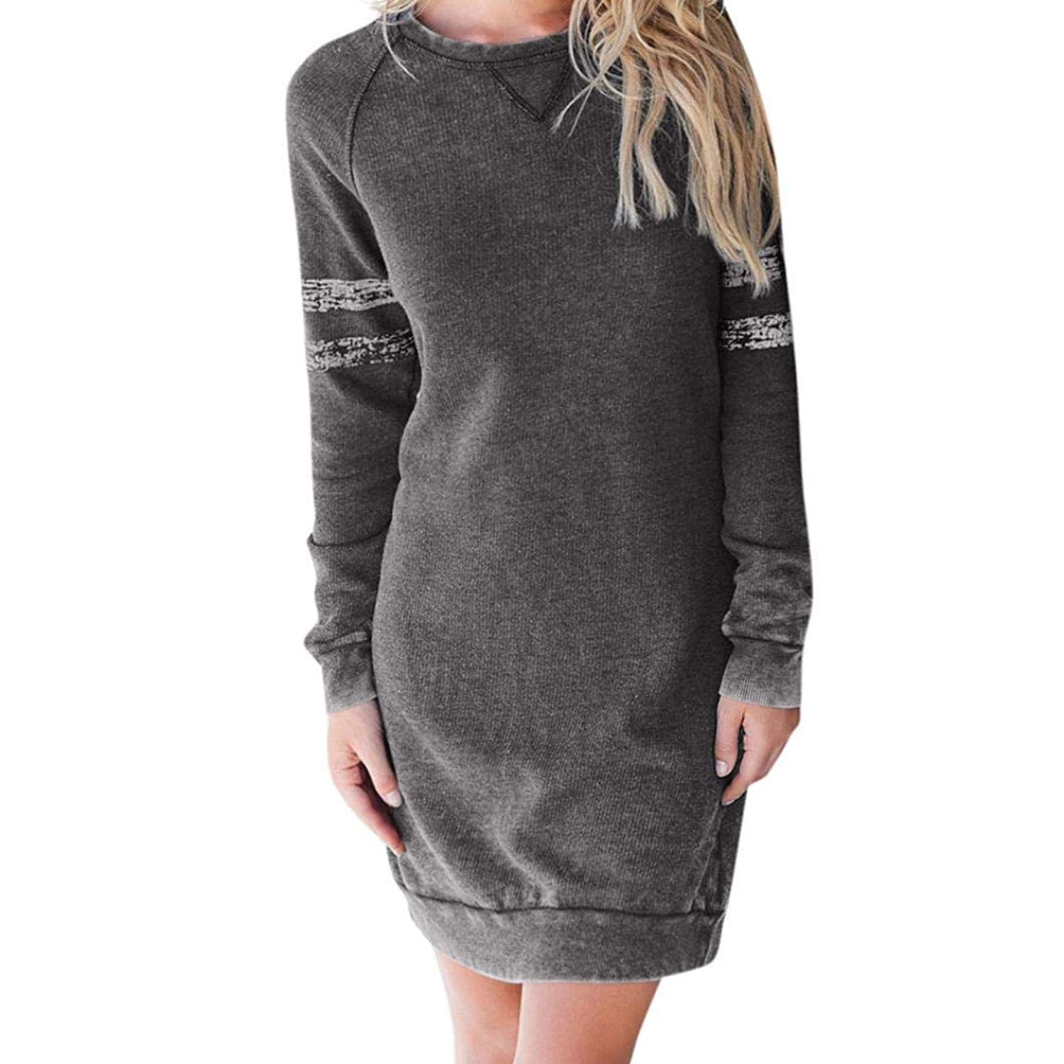 dae25aa266e Get Quotations · Leewos Clearance! Autumn Pullover Mini Dress