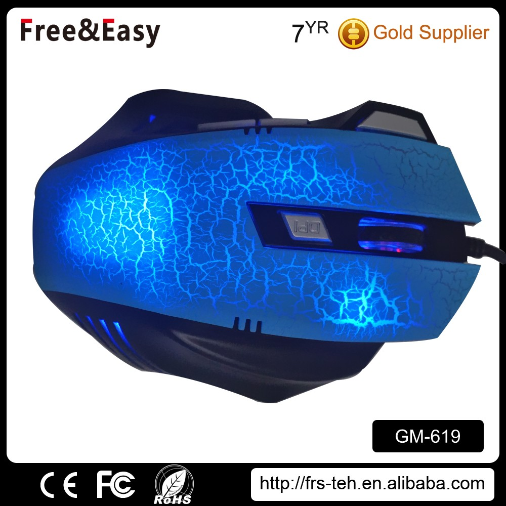 Crack Backlit Wired Ergonomic OEM Gaming Mouse