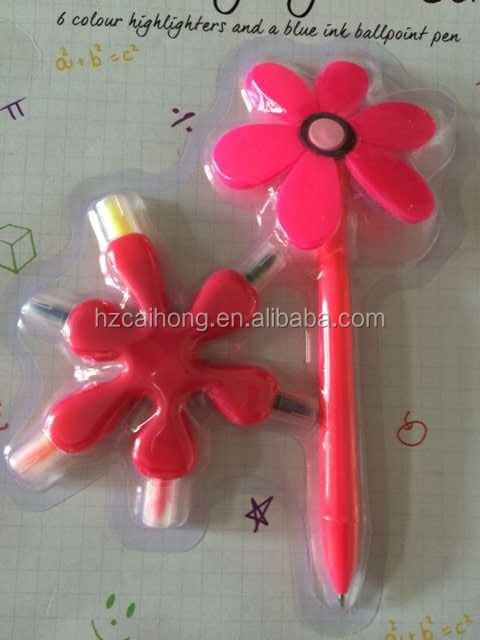 wholesale flower shaped multi color mini highlighter CH-6398 Flower Shape Plastic Highlighter Pen,