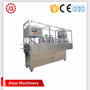 Automatic stainless steel k cup filling and sealing machine applied in cosmetic and food products