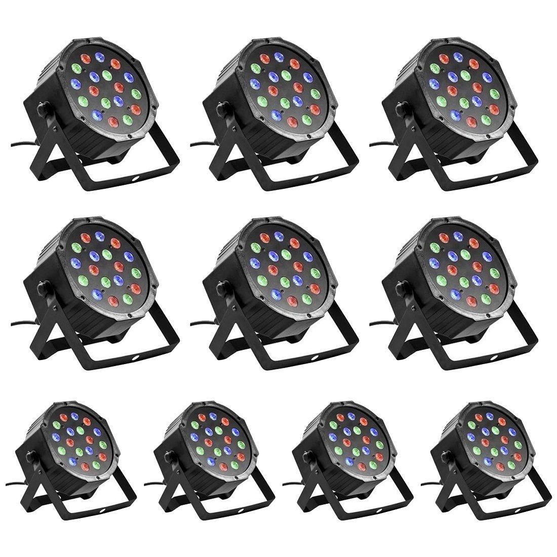 LED DJ Par Lights - TOOGOO(R) 10PCS 18 X 3W LED DJ Par Lights 54W RGB PAR64 DMX512 For Stage Party Show