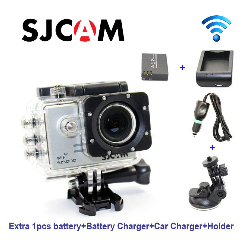 Free shipping!Original SJCAM SJ5000 WiFi Sport Action Camera+Extra 1pcs battery+Battery Charger+Car Charger+Holder for DV camera