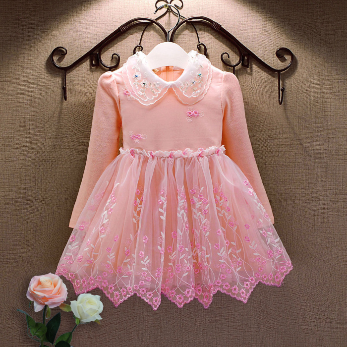 Baby Girls Dress Baby Dress kids clothes rose print girls party dress with flower sashes vestidos