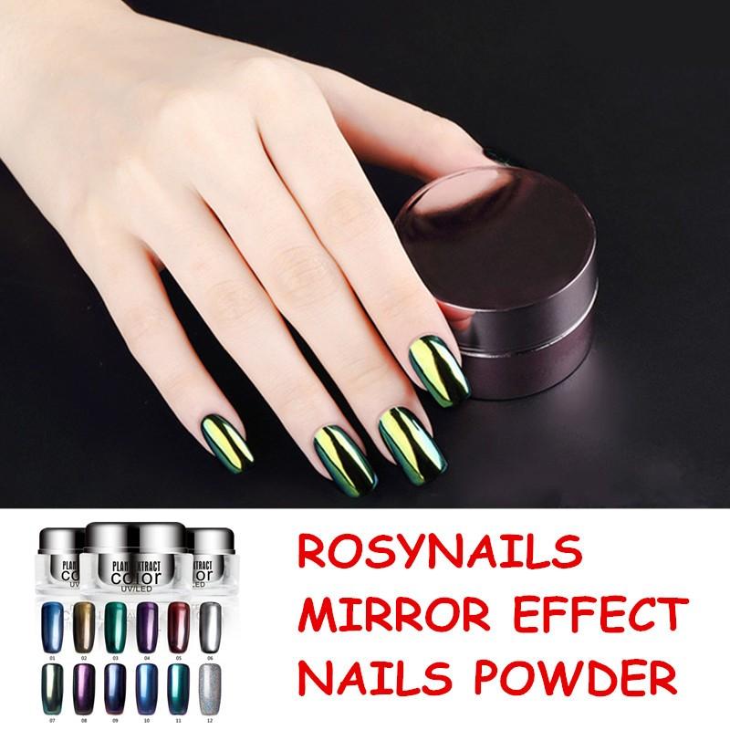 Alta calidad mágica brillo metálico color polvo espejo efecto nail ...