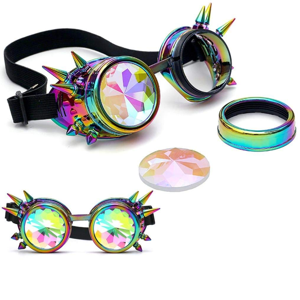 ffb78fc7e Get Quotations · Gbell Colorful Kaleidoscope Glasses - Rave Festival Party  Sunglasses EDM Diffracted Lens for Kids Boys Girls