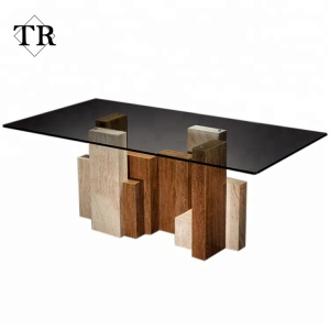 Europe Luxury Design Marble Glass Dining Table For Dining Room