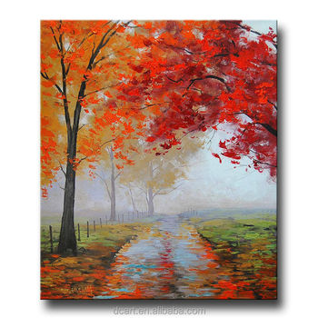 foggy weather of natural tree canvas painting buy red tree oil