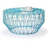 Adeco Accent Round Starburst End Side Table, Iron, Sky Blue color