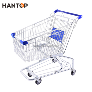 zinc plated supermarket metal shopping trolley cart 100L HAN-A100 350