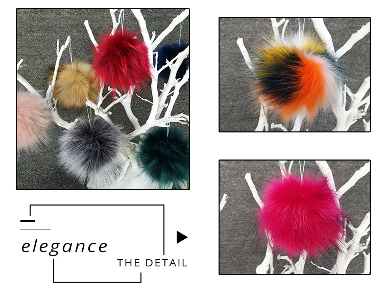 Attractive Design Key Ring Chain Faux Fur Poms Uk Keychain Pom