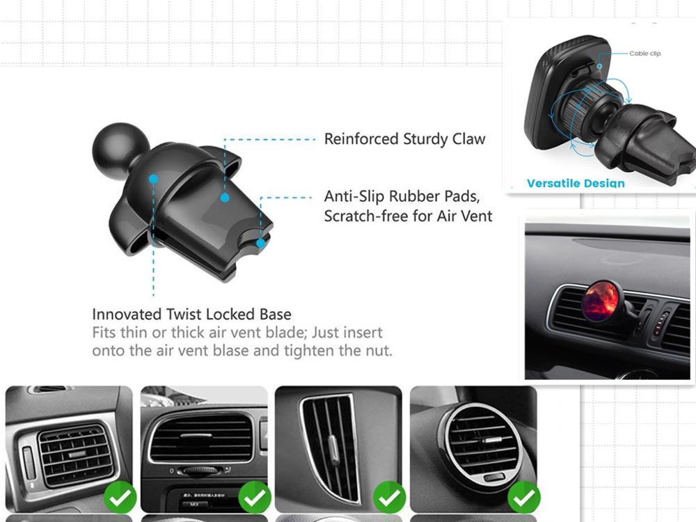 GH01-AV2S New Design Gravity Car Vent Mount Auto lock Mobile Air Vent Car Phone Holder