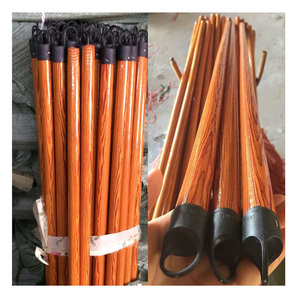 ripped plastic cover coated wood broom stick