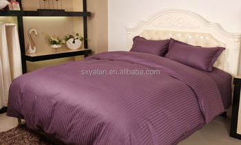 Wonderful 100% Cotton Wholesale Bed Sheets /manufacturer In China Jacquard Stripe  Dark Purple Color Design