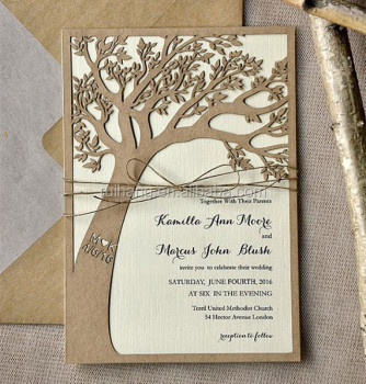 Eco Chic Custom Listing Rustic Laser Cut Tree Wedding Invitations In Kraft  Pape Nice Ideas